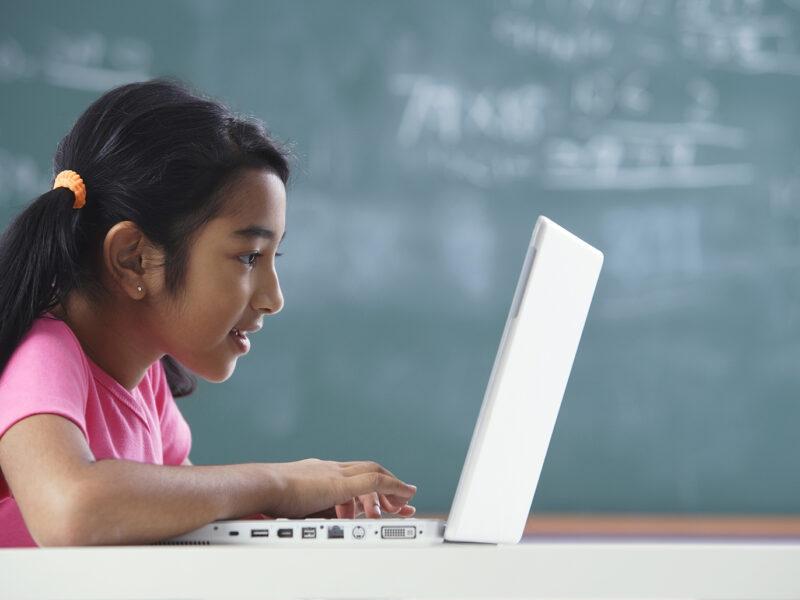 Girl Working at Laptop-sm